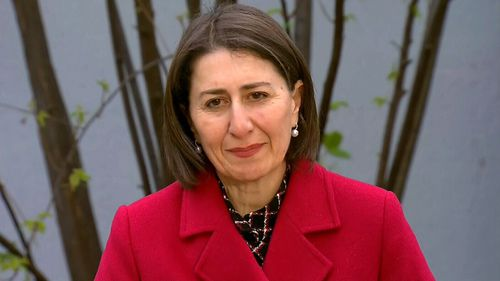 Gladys Berejiklian speaks with media while visiting Seven Hills High School in Sydney today.