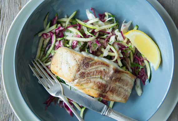 Nadia Lim's chargrilled fish with hand-cut chips and pickled slaw