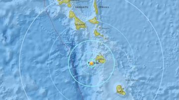The epicentre of the earthquake. (USGS).