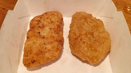 Side-by-side, Ms Francis' McNugget is almost identical to the real product from McDonald's. Picture: Facebook/Bernadette Francis.