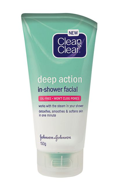 "<strong>For an in-shower facial:</strong><br /><br /><a href=""https://www.priceline.com.au/skincare/face-care/facial-cleansers-and-scrubs/deep-action-in-shower-facial-150-g"" target=""_blank"">Deep Action In-Shower Facial, $10.79, Clean &amp; Clear</a>"