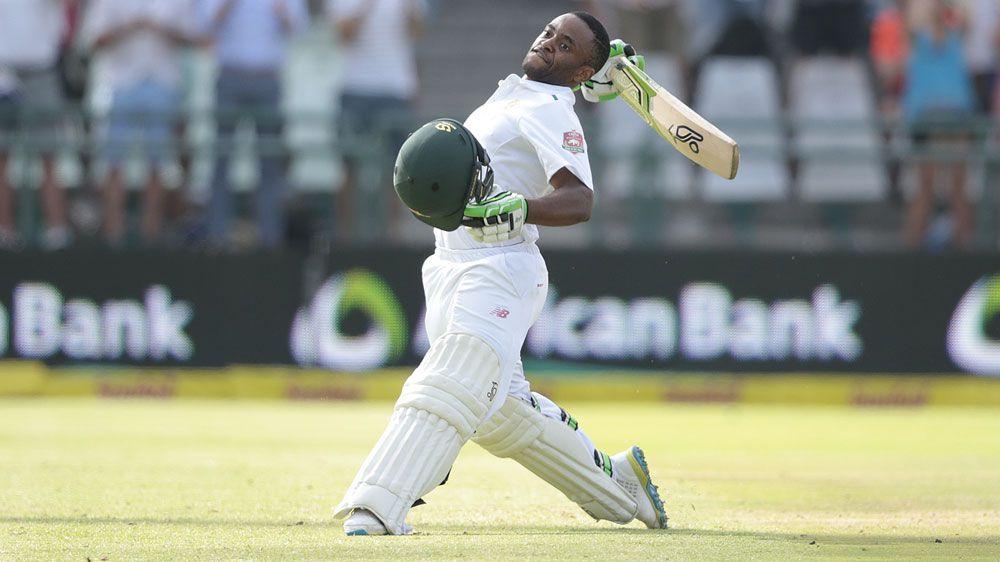 Temba Bavuma celebrates his century for South Africa. (Getty)