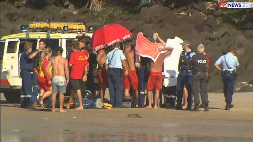 Emergency services responded to the scene at Fingal Head, south of Coolangatta. (9NEWS)