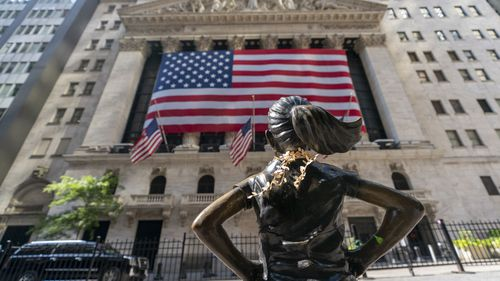 "The ""Fearless Girl"" bronze sculpture looks towards the New York Stock Exchange (Photo: September 22, 2020)"
