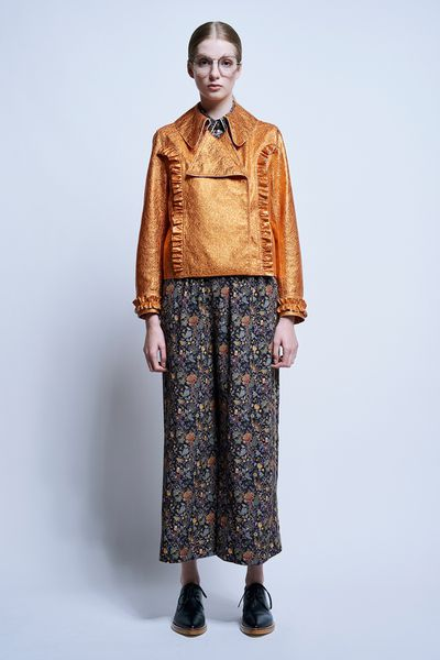 "Copper &lsquo;Mustical Mustang&rsquo; leather jacket, <a href=""https://www.karenwalker.com/clothing/jackets/mystical-mustang-jacket-6994-04/orange"" target=""_blank"">Karen Walker</a>, $1,890.16<br />"