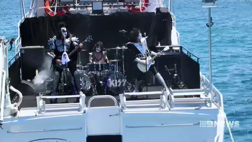 Iconic rock band Kiss have put on a unique show on a boat off Port Lincoln.
