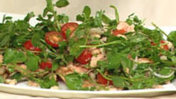 Smoked trout, watercress and pecan salad