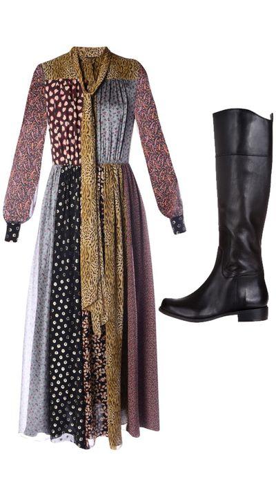 "<p>Dress: <a href=""http://www.matchesfashion.com/au/products/Saint-Laurent-Patchwork-print-chiffon-dress-1004642#"" target=""_blank"">Patchwork-print chiffon dress, $4,973, Saint Laurent</a><br><br>Boots: <a href=""http://www.theiconic.com.au/Cromie-202847.html"" target=""_blank"">Cromie Boot,&nbsp;$269.95, Ninewest</a><br><br>&nbsp;</p>"