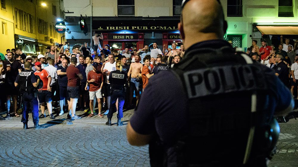 English soccer fans brawl in French city