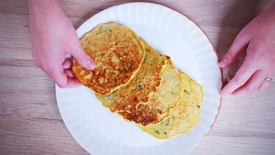 9Honey Quarantine Kitchen chickpea pancakes with just 3 ingredients