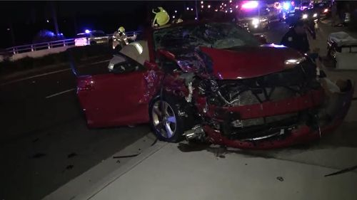 Seven people were injured in a multi-vehicle crash in the NSW Blue Mountains on Thursday night. Picture: 9NEWS.