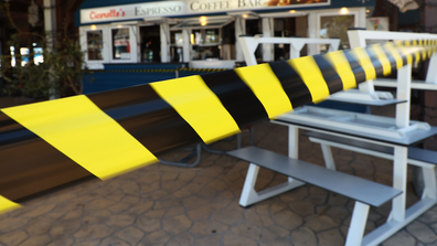 The outdoor dining area at Cicerello's is packed up and taped off on January 31, 2021 in Fremantle, Australia.
