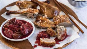 Roast duck with plum compote