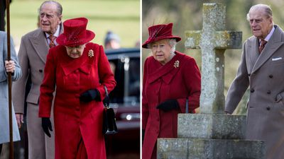 Queen Elizabeth and Prince Philip visit church