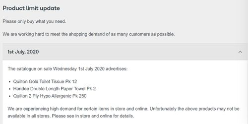 Woolworths' statement on its website about shortages of toilet paper on tissues it advertised in its catalogue.