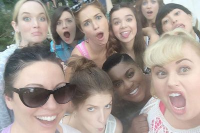 "@rebelwilson: ""Massive Bellas selfie with scriptwriter @Kay KayCannon #PitchPerfect2"""