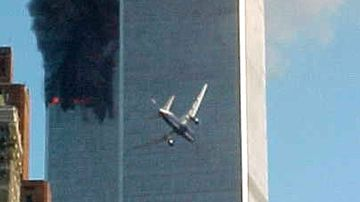 A jet airliner is lined up on one of the World Trade Center towers in New York. In the most devastating terrorist attack ever waged against the United States, knife-wielding hijackers crashed two airliners into the World Trade Center.