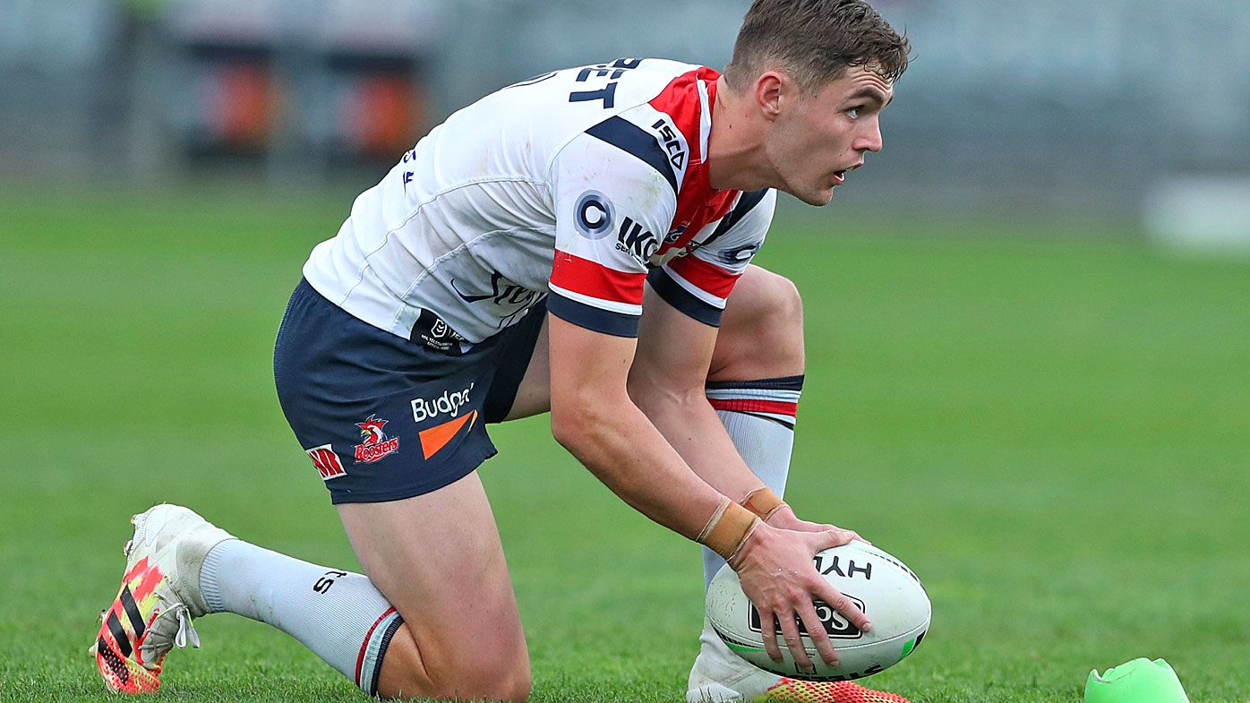 Kyle Flanagan of the Roosters prepares to take a kick
