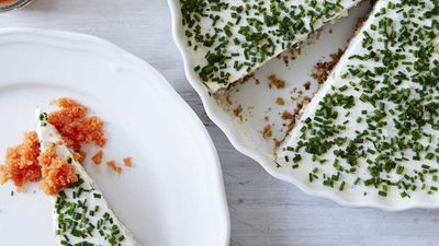 Herring cake with chives