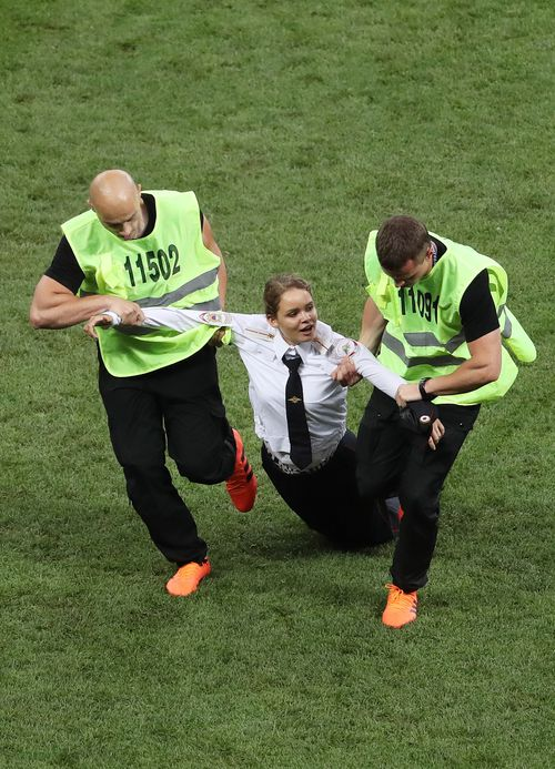 The four pitch invaders have been detained for questioning by Russian police. Picture: AAP