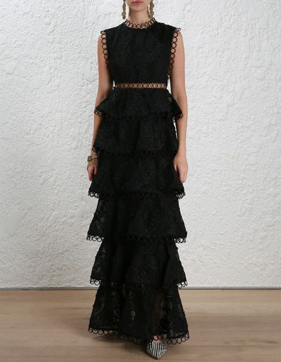 "<p>Wednesday's child</p> <p><a href=""https://www.zimmermannwear.com/new-arrivals/readytowear/clothing/winsome-tier-vine-dress-black.html"" target=""_blank"">Zimmermann</a>, winsome tier vine dress, $1,850</p>"