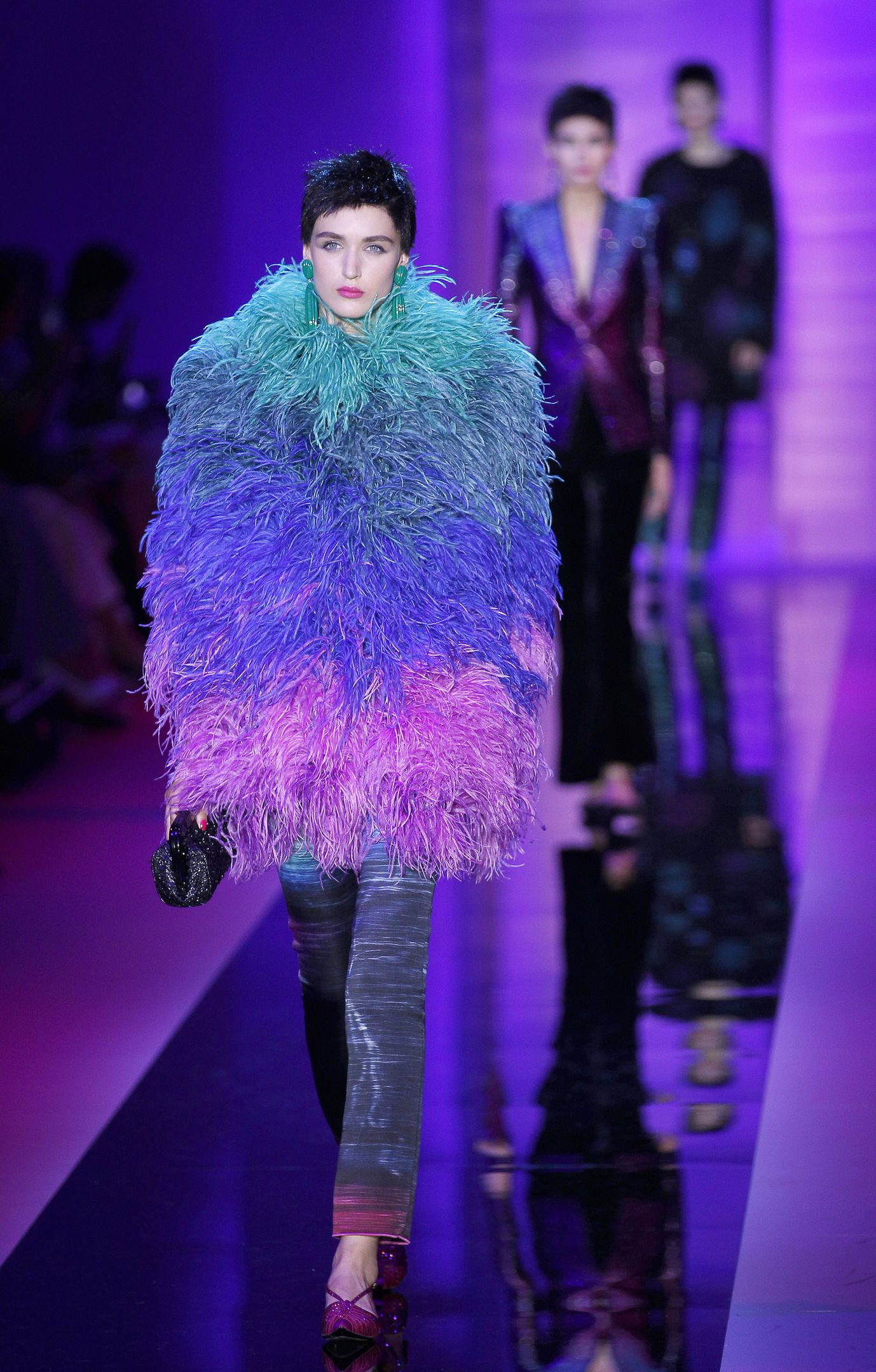 Feathers, sequins and 80s glam ruled at Armani Privé.