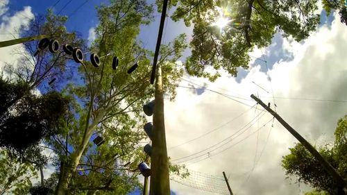 Connor was airlifted to hospital after becoming tangled in ropes at the Adventures Alternatives Education Centre on the Sunshine Coast in Queensland. Picture: 9NEWS.