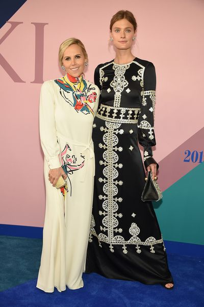 Designer Tory Burch and Constance Jablonski at the 2017 CFDA Awards.