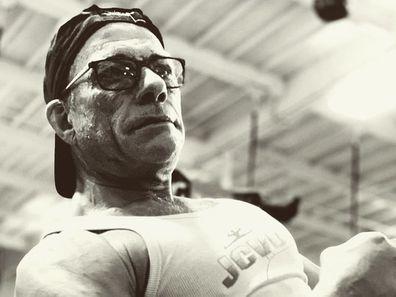 Jean-Claude Van Damme, gym selfie, Instagram, biceps
