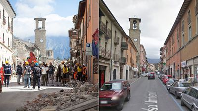At least 120 people are dead and countless feared buried beneath the rubble, after a 6.2 magnitude earthquake hit central Italy today.<br /> A photo of the main street of Amatrice Corso, taken on August 24, 2016, compared to a shot taken on December, 2011. (AFP/Google Street View)