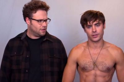 """When Seth Rogen told Zac to """"stand there shirtless and keep his pretty little mouth shut"""" in a promo for <i>Bad Neighbours</i>. <br/><br/>(Image: Universal Pictures)"""