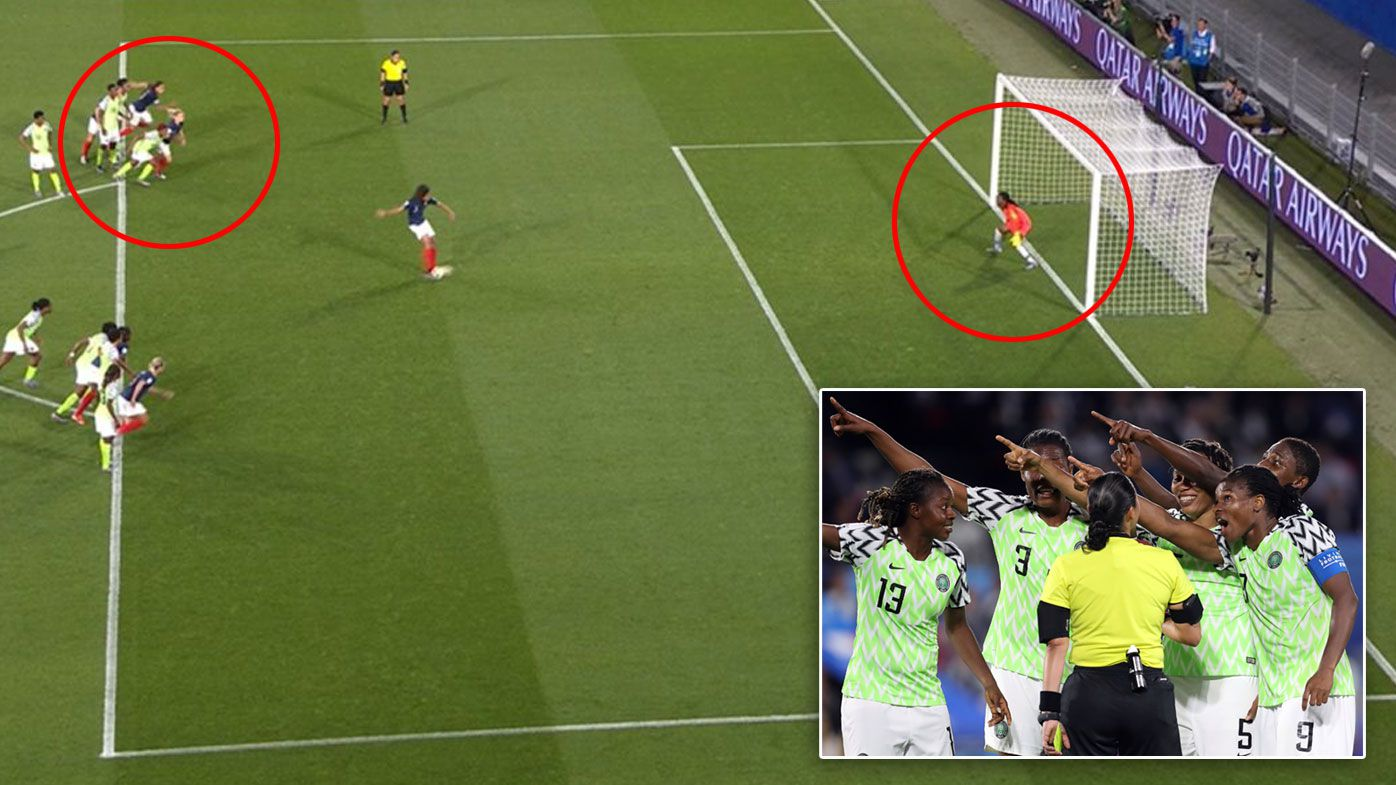Nigeria protest France's penalty goal