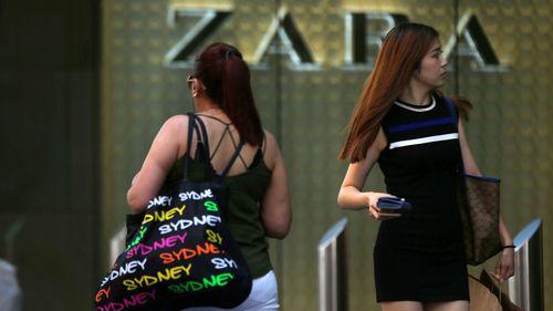 Shoppers walk past a Zara store in Pitt St Mall, Sydney.