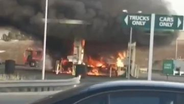 Motorists run for their lives as gas explosion sparks huge fire