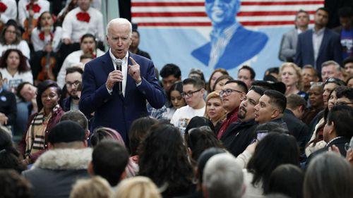 Joe Biden speaks to supporters at an event in Las Vegas, Nevada.