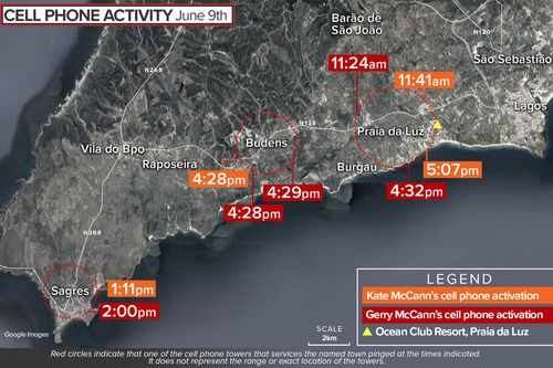 Map showing cell phone mast pings of Kate and Gerry McCann in Portugal, 2007.