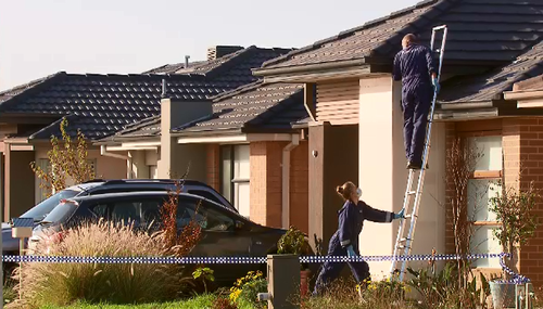 Detectives were at the Werribee home on Friday. Picture: 9NEWS
