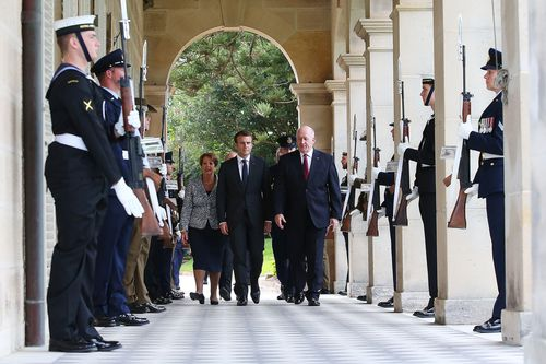 President Macron with the Governor-General of Australia, Sir Peter Cosgrove. Picture: AAP