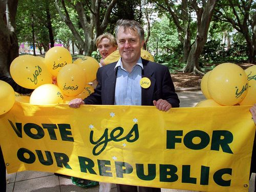 Malcolm Turnbull during the 1999 'Yes' campaign for a republic.