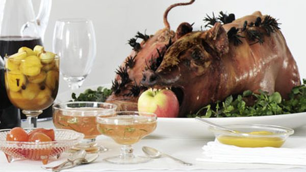 Roast suckling pig with walnut and apple stuffing