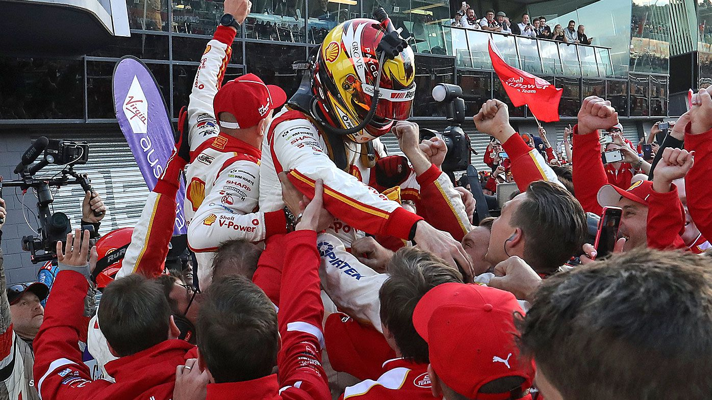 Scott McLaughlin driver of the #17 Shell V-Power Racing Ford celebrates winning the Bathurst 1000