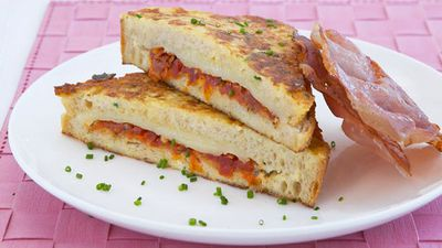 "Recipe: <a href=""http://kitchen.nine.com.au/2016/05/17/23/26/tomato-and-cheese-french-toast"" target=""_top"" draggable=""false"">Tomato and cheese french toast<br /> <br /> </a>"