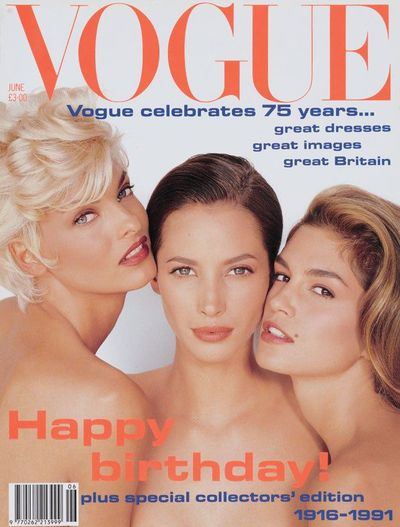 Linda Evangelista, Christy Turlington and Cindy Crawford at UK <em>Vogue</em>, January 1990 by Herb Ritts