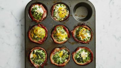 """Recipe:&nbsp;<a href=""""http://kitchen.nine.com.au/2017/01/31/13/10/green-bacon-and-egg-cupcakes"""" target=""""_top"""">Green bacon and egg cupcakes</a>"""