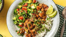 Caramelised pork with coconut rice