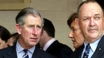 Prince Charles reacts with surprise as he meets Ian Kiernan, the Chairman of Clean Up Australia Day, during a reception at Government House in Sydney, 2005