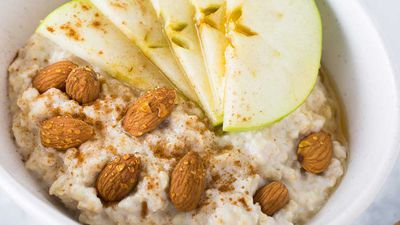 Porridge with almonds apples and cinnamon