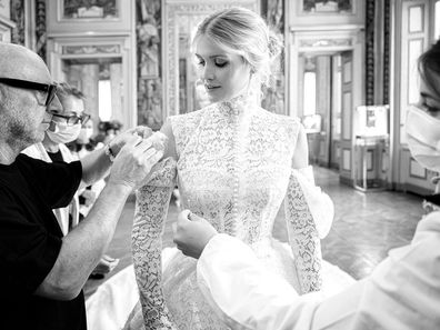 Kitty Spencer during her final fitting for her Dolce & Gabbana wedding gown