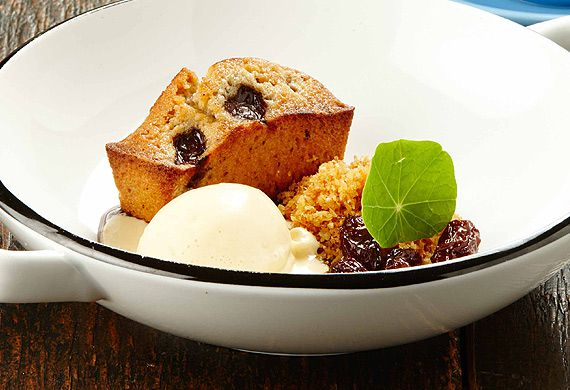 Gary Mehigan's warm financiers with tea-soaked sultanas and oloroso ice-cream