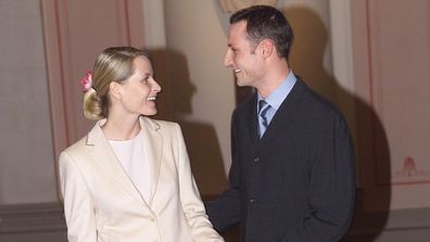 Prince Haakon and Princess Mette-Marit announce their engagement, January 2000.